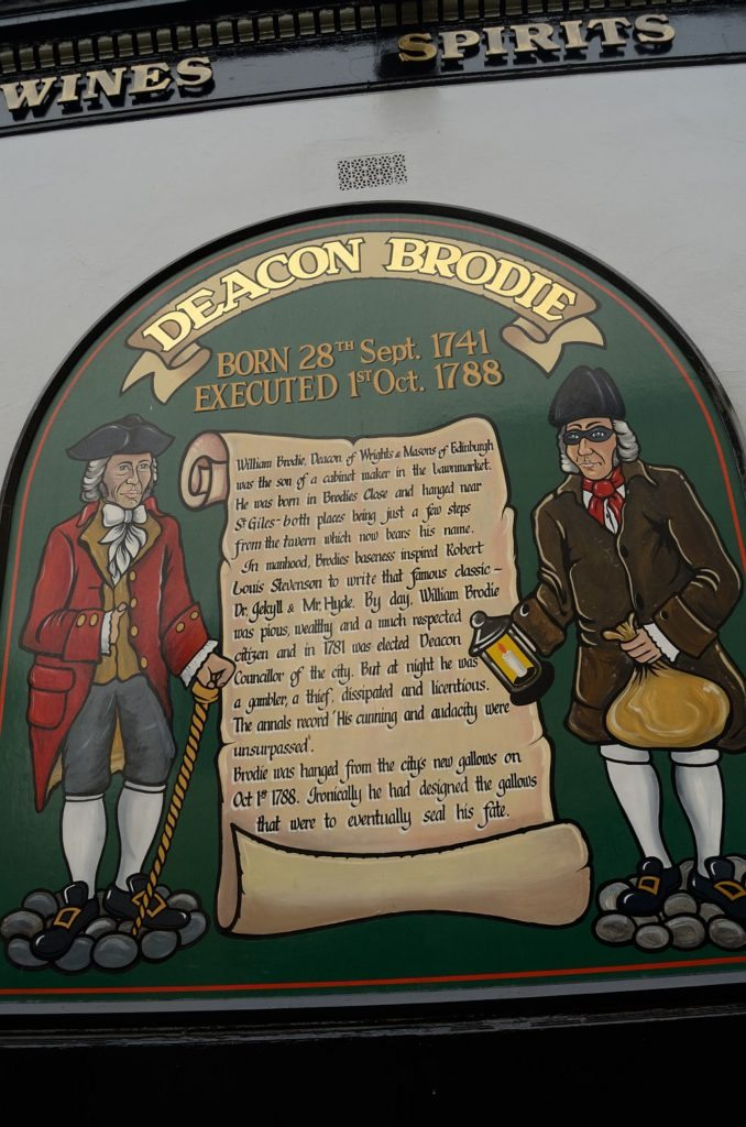 Deacon Brodies Tavern Edinburgh, literary tour Edinburgh, pubs of Edinburgh, taverns of Edinburgh, old town of Edinburgh, Robert Louis Stevenson, Dr Jekyll and Mr Hyde