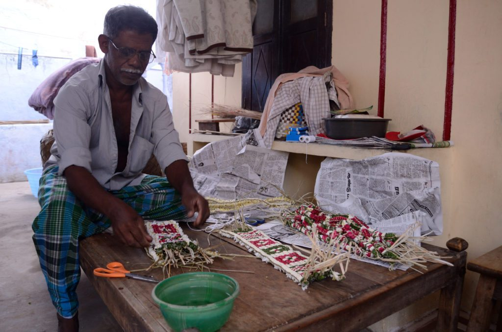 Thovalai flower market Nagercoil, garland weaver Thovalai flower market Nagercoil