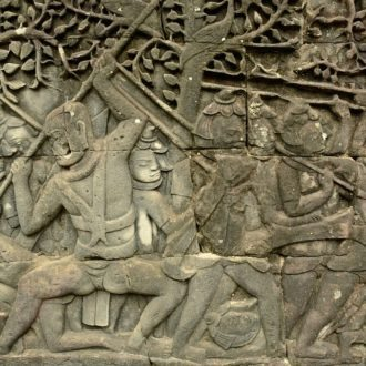 Bass relief carvings Bayon Angkor Thom, battle between Khmers and Chams, Angkor Thom, Cambodia