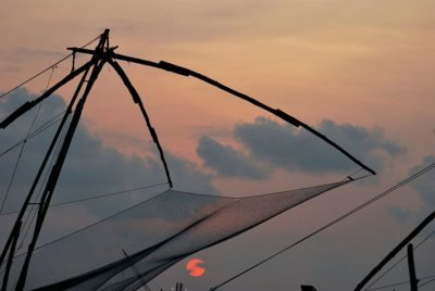 Fort Kochi, Kerala, Chinese Fishing Nets, sunset in Fort Kochi