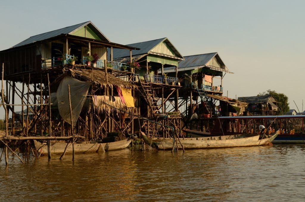 Stilled homes, Tonle Sap, Cambodia, Siem Reap, floating village