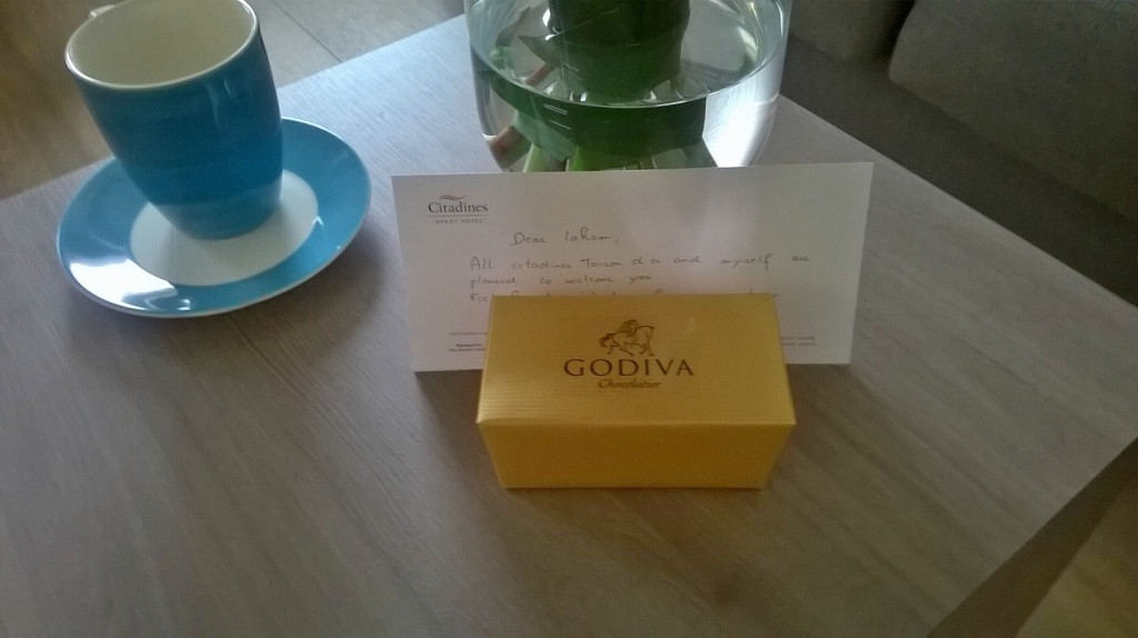Godiva chocolates at the Brussels Citadines Toison D'Or