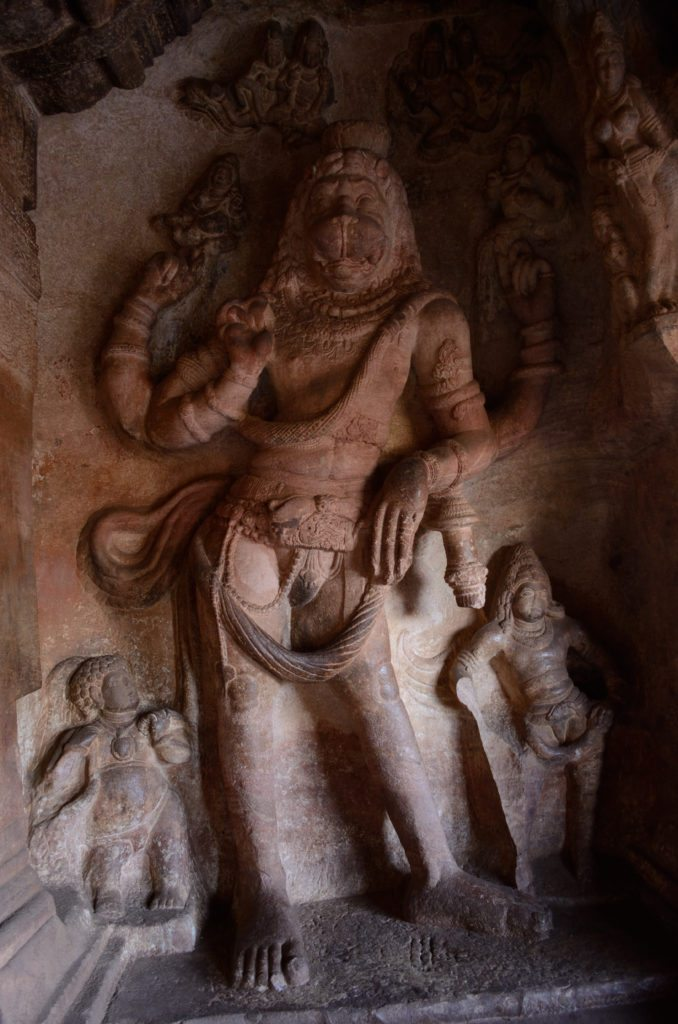 Badami Caves, Narasimha, sculptures