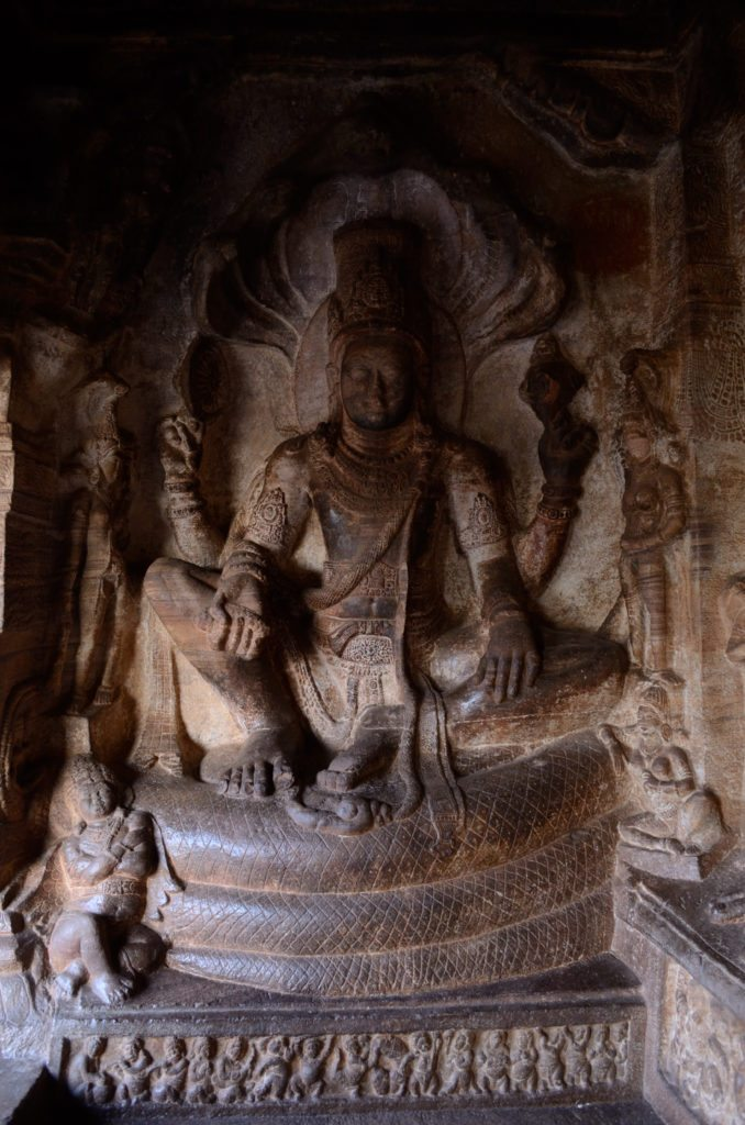 Badami Caves, Vishnu, sculptures