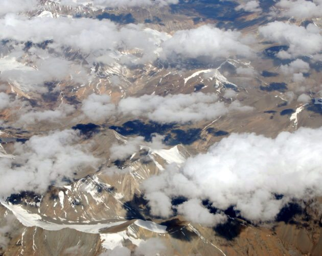 Ladakh from the skies, Himalayas, snow, clouds