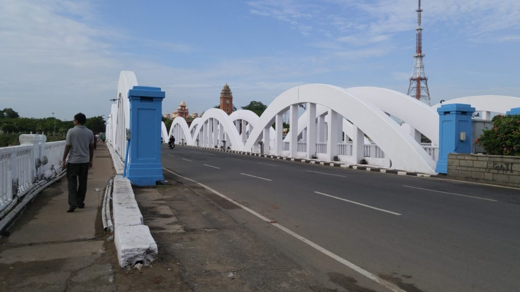 Napier Bridge that is built over the Cooum