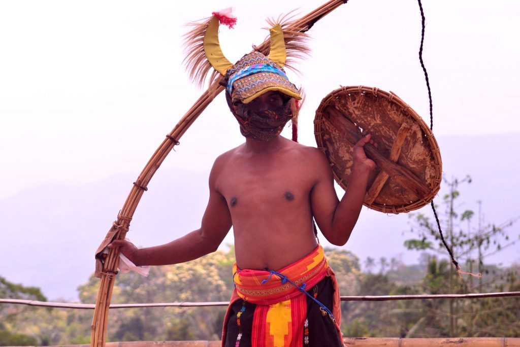 An opponent is ready with his whip, traditional dance in Indonesia, Indonesian dance