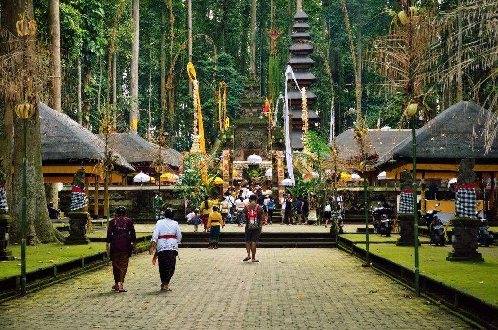 The temple inside the Sangeh Monkey Forest , bali