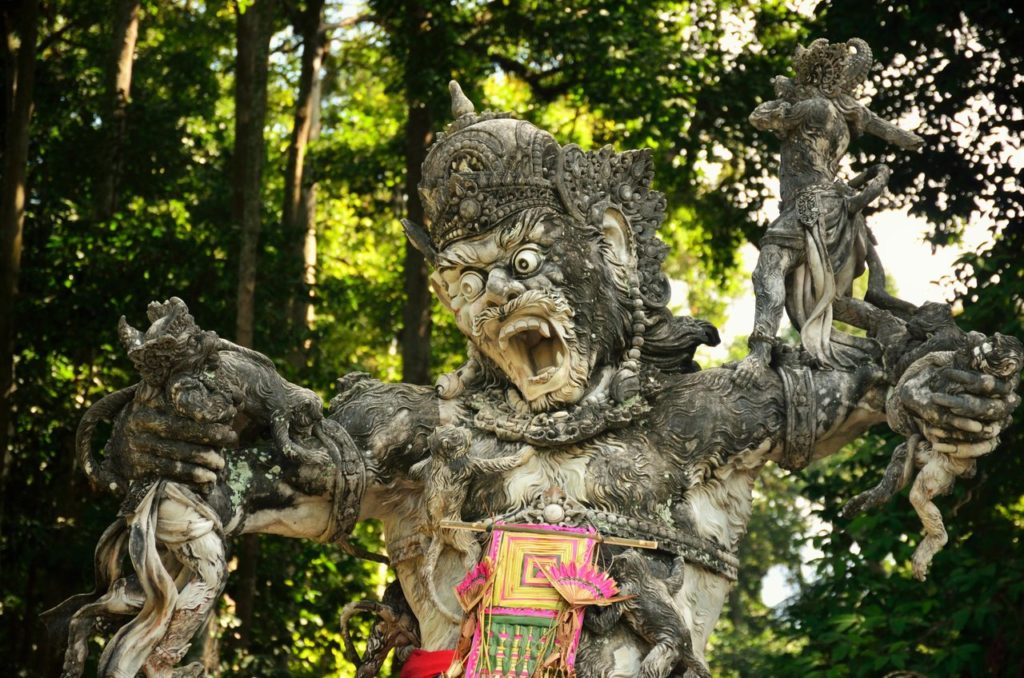 Kumbhakarna Sculptures in sangeh monkey forest