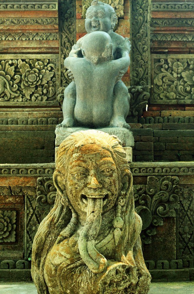 carvings in the Ubud Monkey Forest, bali