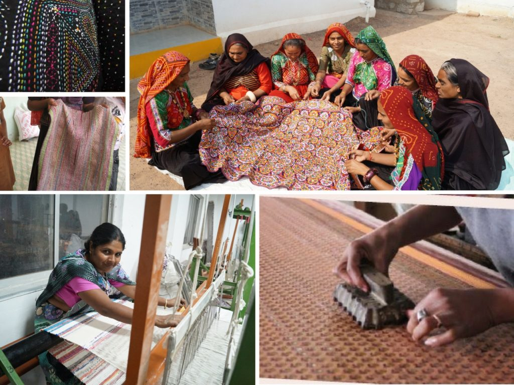 The local woman artisans of Gujarat combine the sparkling mirrors along with colorful Kutch embroidery